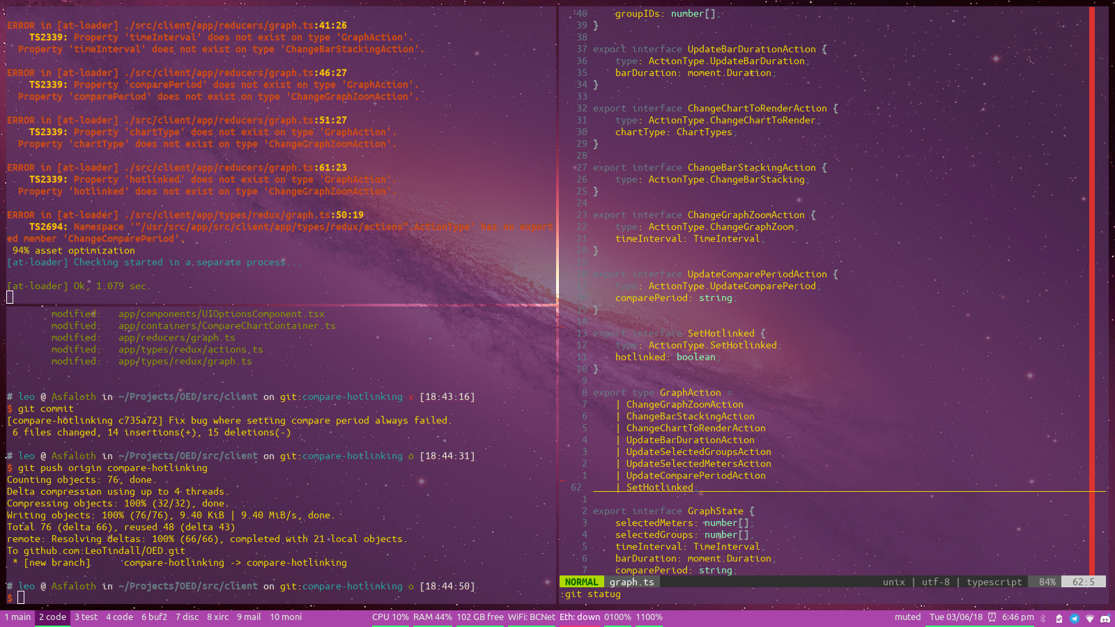 Screenshot of my terminal-only development setup