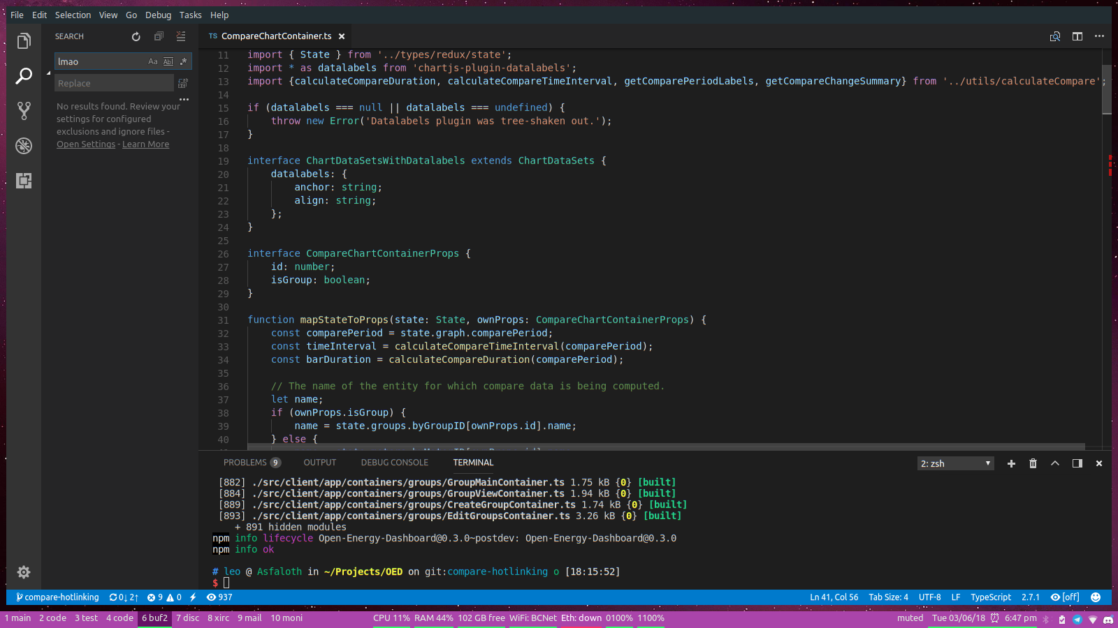 Screenshot of my VSCode development setup